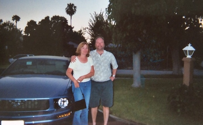 Outside Aunt Pauline's house, Van Nuys, Calif.