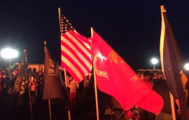 Flags fly everywhere.