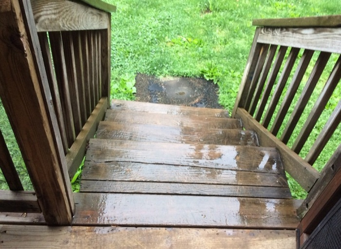 Wet steps.