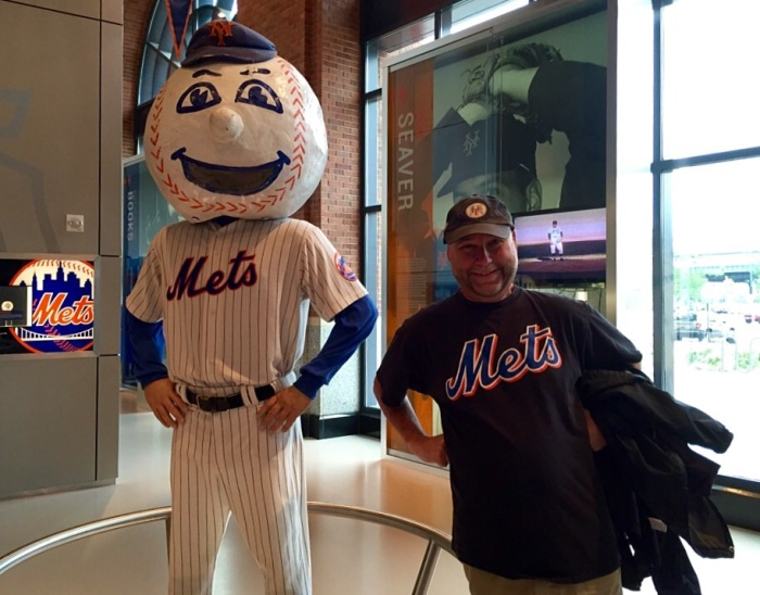 I'm the Mr. Met on the right.