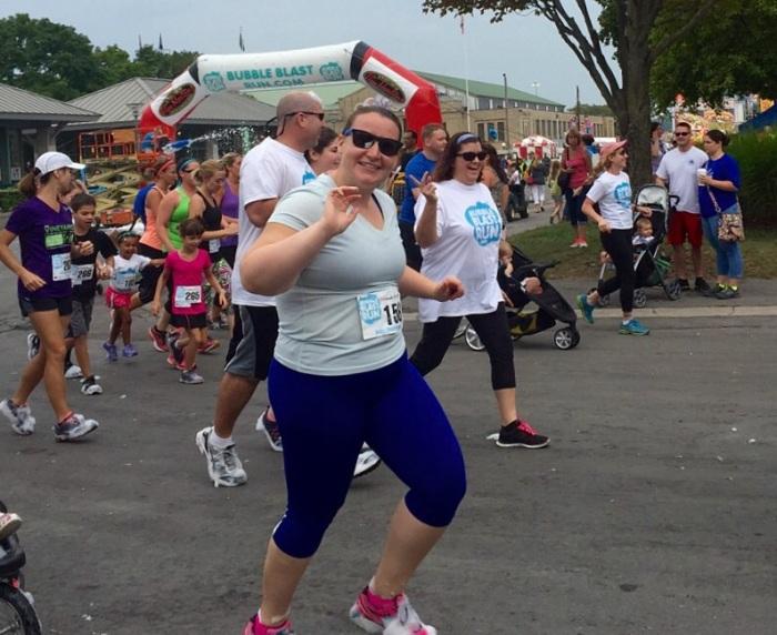 Proud runner Elisabeth.