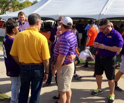 LSU fans talk on the Syracuse quad.