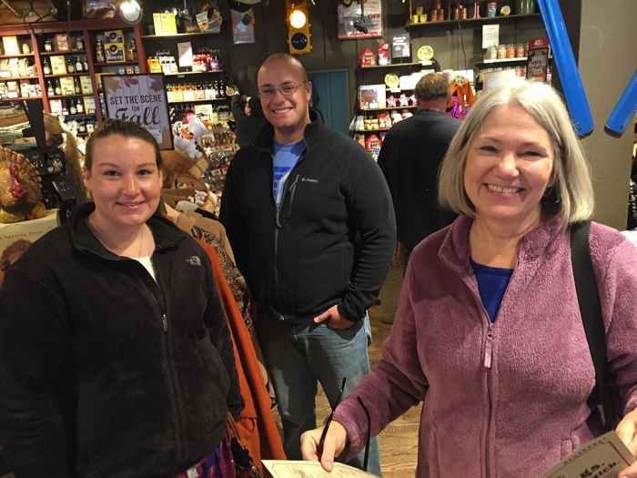 Smiling as we wait for the table at Cracker Barrel are Elisabeth, George Three and Karen.
