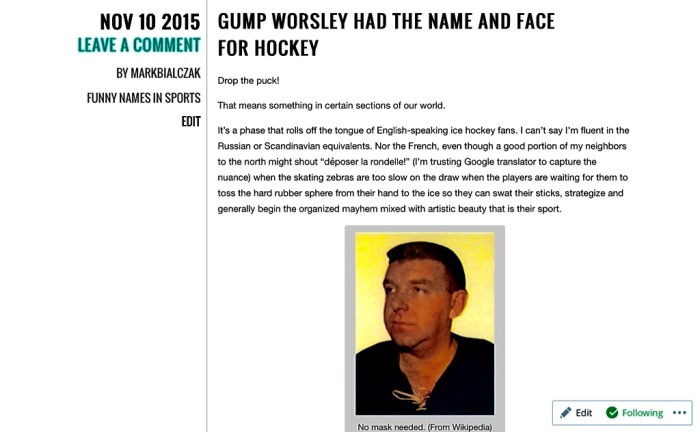 That's Mr. Gump Worsley to you.