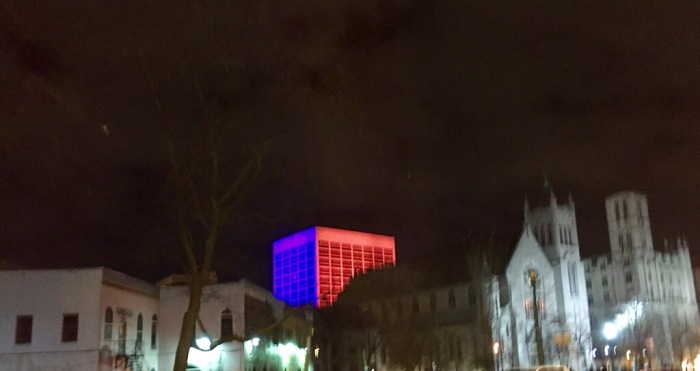 Blue and red in downtown Syracuse.