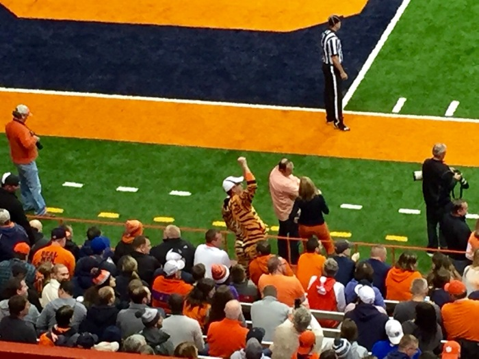 A Clemson Tiger fan celebrates in Syracuse's Carrier Dome.