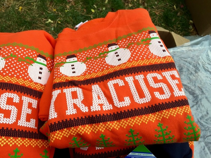 In Orange, the ornate Christmas sweater.