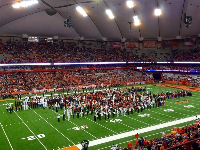 The Pride of the Orange and many high school bands at the Carrier Dome.