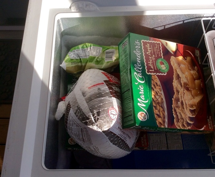 Before the big day, stocked in the back porch freezer.