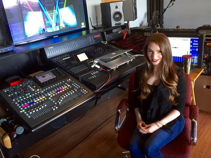 Kimberly Schad, in the family recording studio in Jamesville, N.Y.