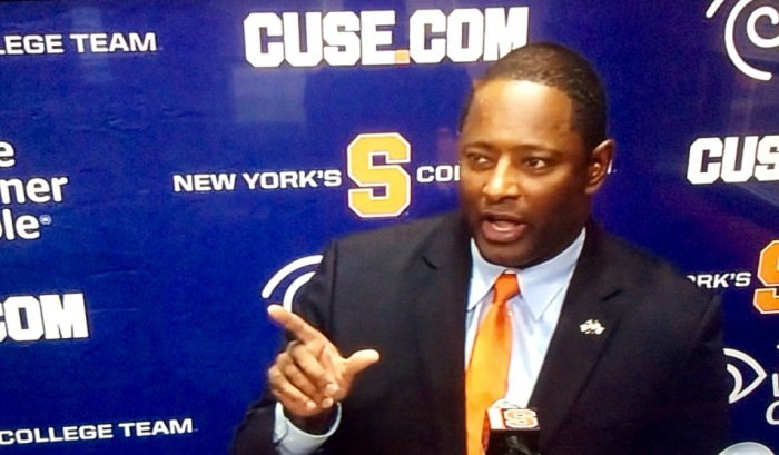 The new Syracuse football coach, Dino Babers, makes a point.