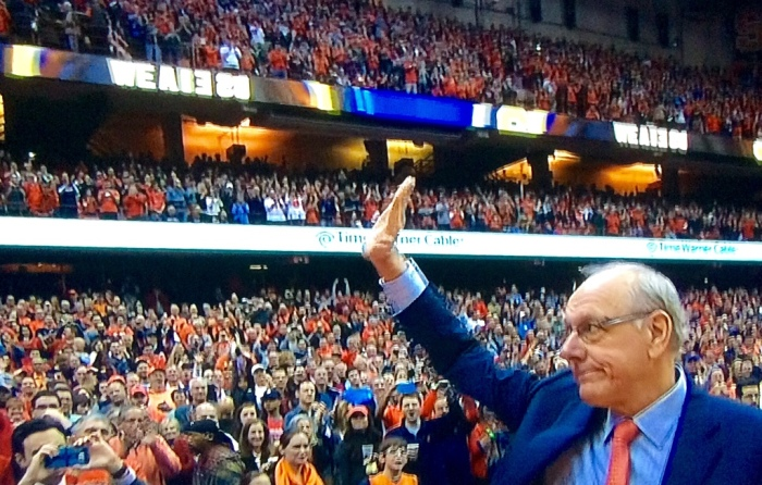 Coach Jim Boeheim returns last Saturday in the Carrier Dome. (From my wide-screen.)