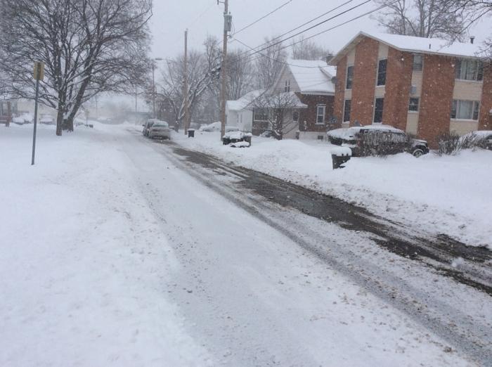 A snowy Syracuse street.