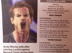 Andy Murray, during his victory in the Australian open. (Vincent Thian/AP/From The Post-Standard)