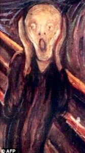 The Scream by Edvard Munch, 1893. (From dailymail.co.uk)