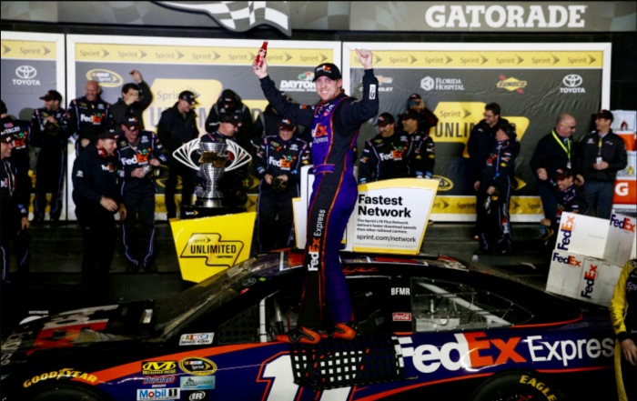 Denny Hamlin wins third Challenge. (Photo from Getty Images)