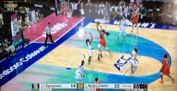 Syracuse women vs. Notre Dame in ACC Tournament championship game. (From my wide-screen)