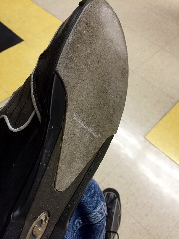 My left shoe, dried, powdered, and scuffed.