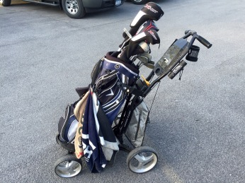 For nine holes, I throw my bag on my own push cart and get the exercise.