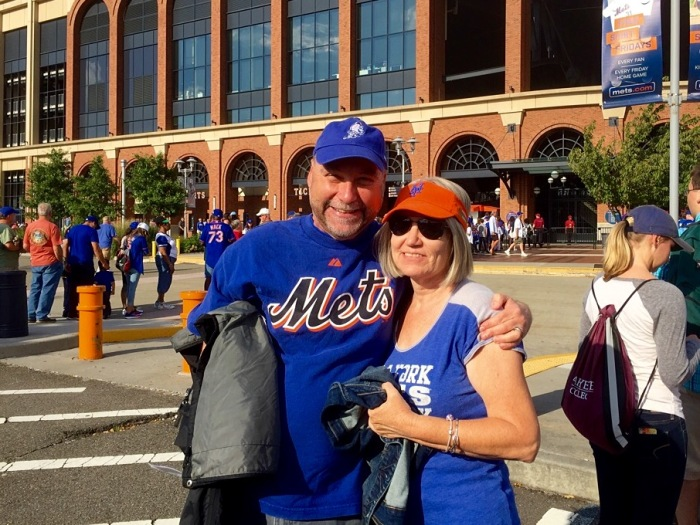 My dear wife Karen and I wait for the gates to open.