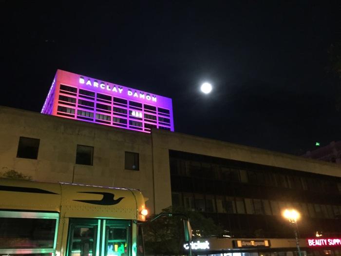 Full moon over South Salina Street in Syracuse, N.Y.