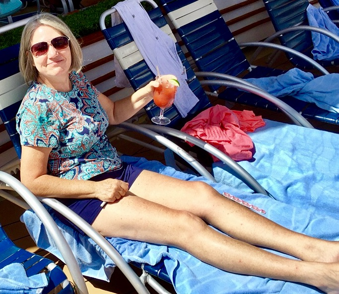 The good wife at the pool.