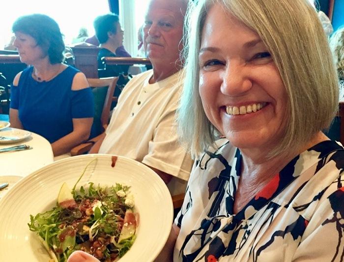Karen with a good big salad.