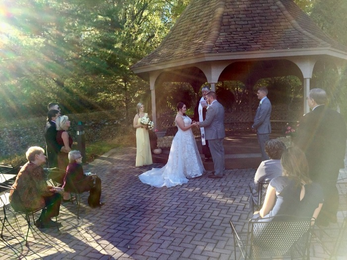Emotional bride and groom.