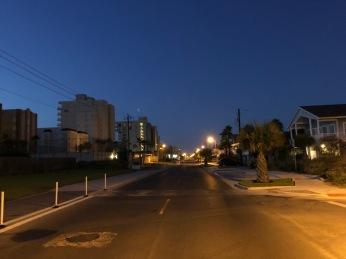 Down the boulevard.